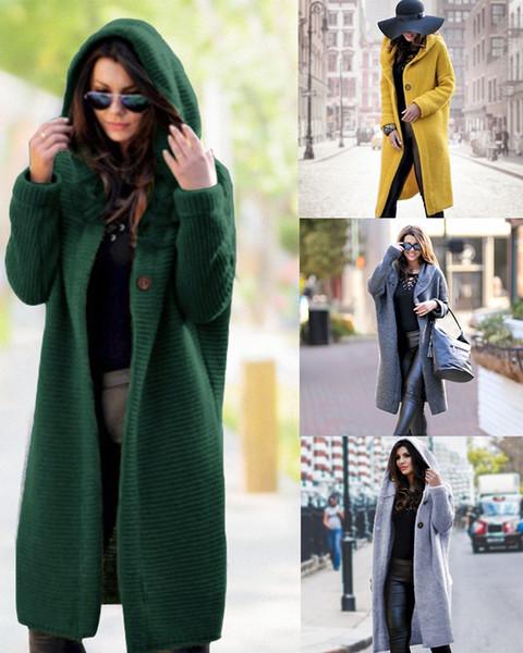 Longue Cardigan Femme Automne Hiver solide surdimensionnées Cardigans à capuchon Femme Garder au chaud Pull laine en vrac tricotée Manteau Y190923