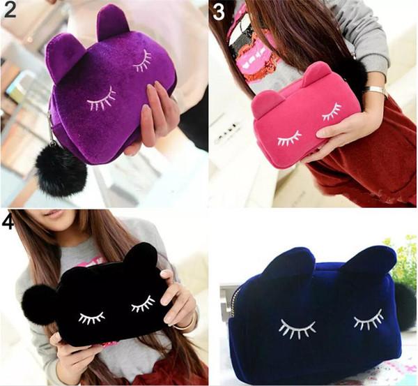 9pcs set Cartoon Cat Big Cosmetics bag size 19*5*12cm Fashion makeup handbag 4 Colors