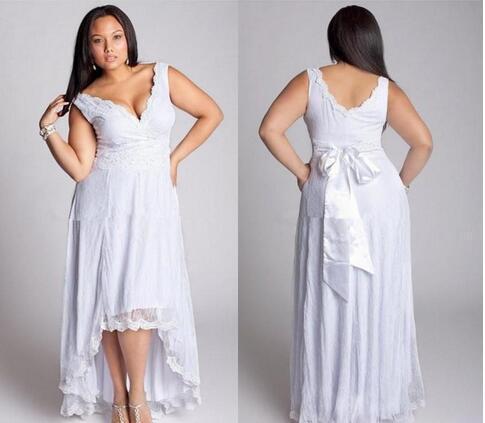 Modelos Vestido Noiva Lace Branco Plus Size Vestidos De Casamento Sexy V Neck Backless Curto Curto Frente Longo Voltar Oi Baixo Vestidos De Noiva Do