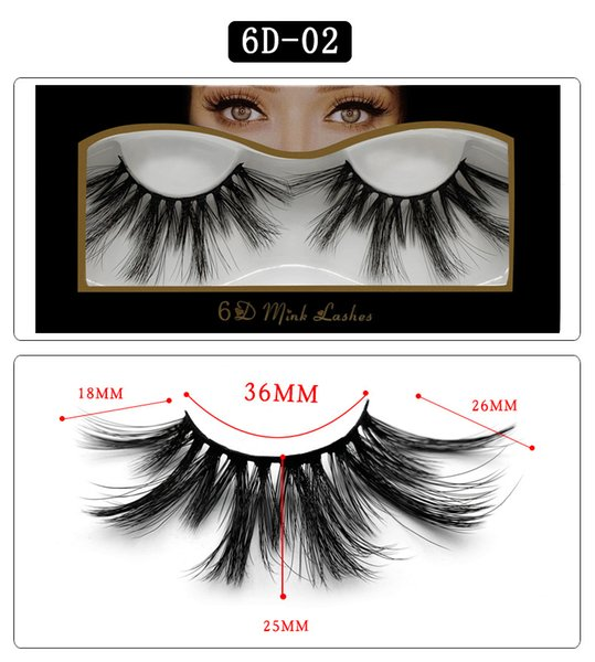 6D-02 NEW 25mm False Eyelashes 5d Mink Hair 6d Stereo Messy Thick Eyelashes Europe and The United States 10 Options 11.2*5.5*1.6cm Single