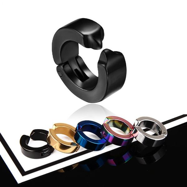 New Fashion Funk Style Stud Earrings Hypoallergenic Titanium Steel Ear Clips Black Women Men Earless hole Earrings Wholesale Jewelry