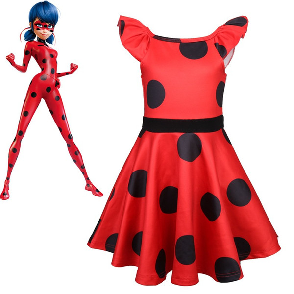 af4355d08 Lady Bug dots birthday Party Dress Miraculous Ladybug Halloween clothing Kids  Girls Clothes Dress Christmas gift
