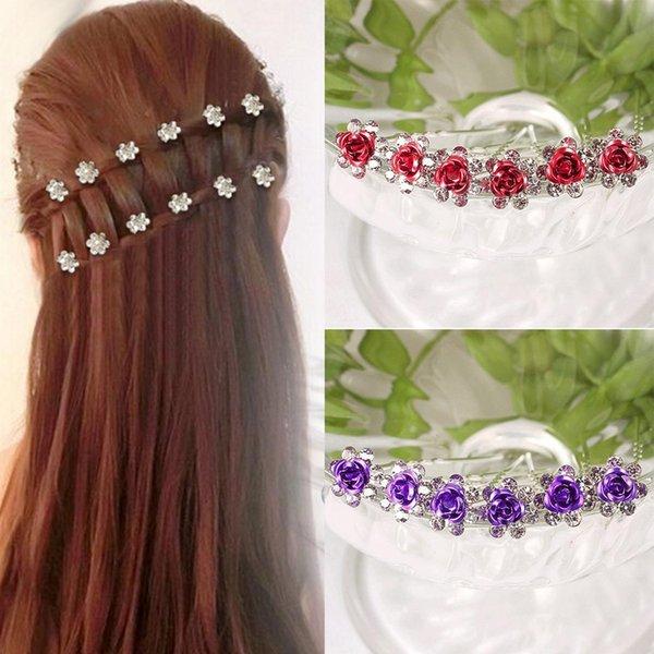 Модные свадебные заколки для волос Цветочные стразы Свадебные заколки для волос Аксессуары для подружек невесты Модные заколки для подружек невесты