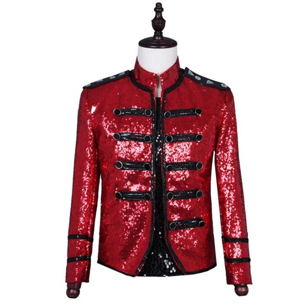 singers red sequins blazer men suits designs jacket mens stage costumes clothes dance star style dress punk rock stand collar