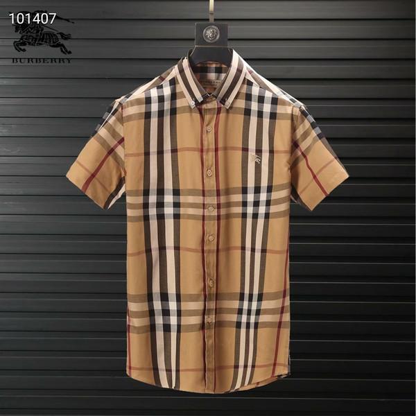 manga curta 075 dos homens marca de negócios camisa casual dos homens listrado Slim Fit camisas sociais masculinas camisa nova moda da manta O envio gratuito de M-3XL