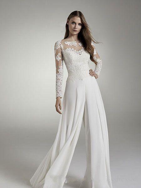 2019 Lace Wedding Bridal Jumpsuits Long Sleeves Jewel Sheer Neck Hollow Back Applique Chiffon Suits Wedding Dresses Reception Designer Cheap