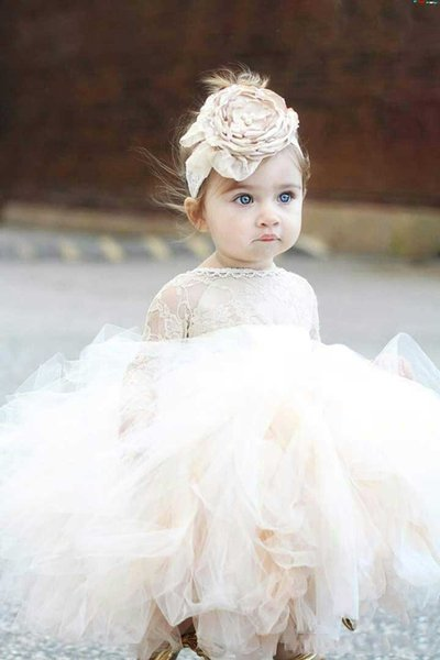Vintage Ivory Baby Infant Toddler Flower Girl Dresses With Long Sleeves Lace Tutu Ball Gowns Baptism Clothes Cheap