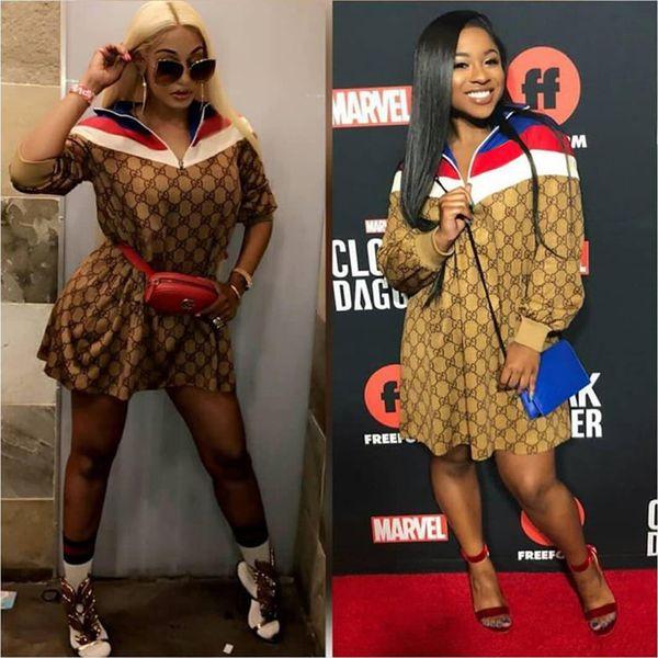 2019 Printemps Mode De Mode À Manches Longues Lâche Dress Haute Qualité Casual Femmes Vêtements Designer Marque Chemise Robes Dames Vêtements Tops Jupe