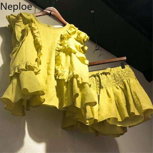 Neploe Yaz Kiti Of 2 Parça kadın Etekler Kolsuz T Gömlek Elastik Etek Şort Setleri Kore Gevşek kadın Kıyafetler Y19071301