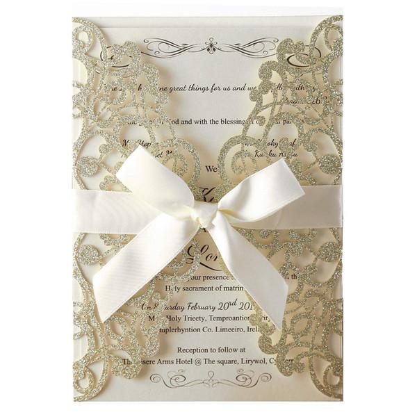 100 pcs Champagne Glitter Laser Cut Cartões de Convite Com Folhas Internas Em Branco E Envelopes Para Convites de Casamento Chá de Panela Y19061704