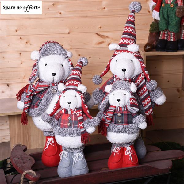 Noel Dekorasyon Süsler Peluş Ayı Bebekler Yeni Yıl Noel Doğum Günü Navidad Hediye Çocuklar için Ayakta Rakamlar Festivali Presents