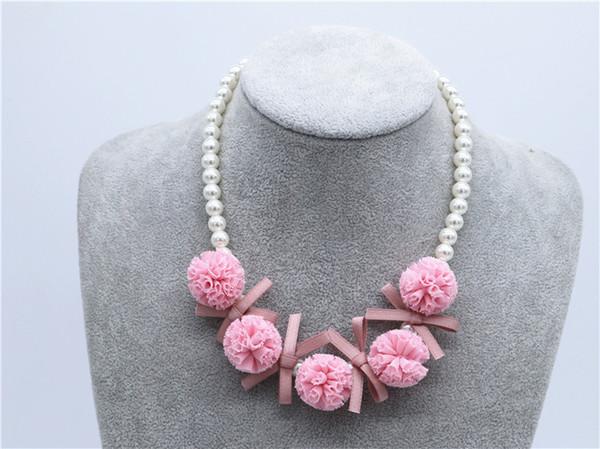 Kore Bebek Kız Çiçek kolye Sevimli Stereo Çiçekler Yay Çocuklar Inci kolye Dantel Top Boncuk Çocuk aksesuarları Y1532