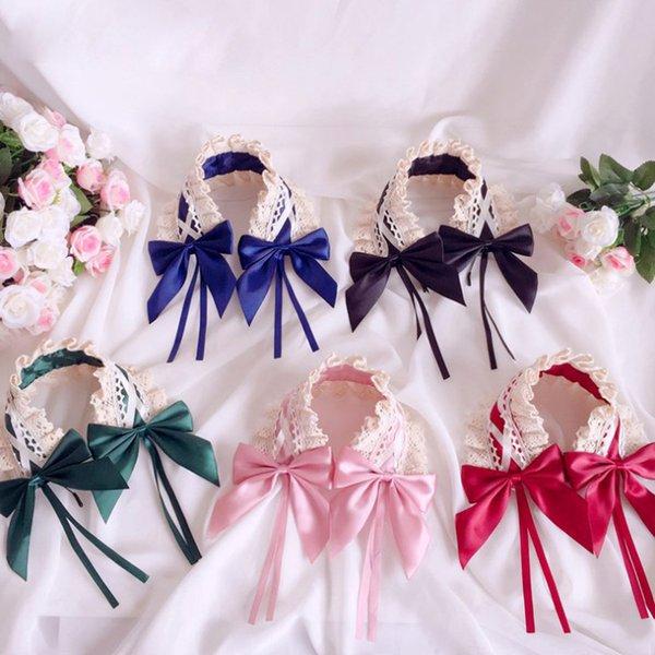 Filles lacets Bows princesse cheveux bâtons enfants dentelle broderie creuse falbala bandeaux enfants chirstmas parti accessoires pour cheveux F9289