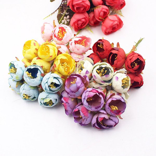 6pcs Small Tea Rose Bud Artificial Flower For Wedding Decoration Cloth Apparel Sewing Needlework DIY Craft Supplies Accories