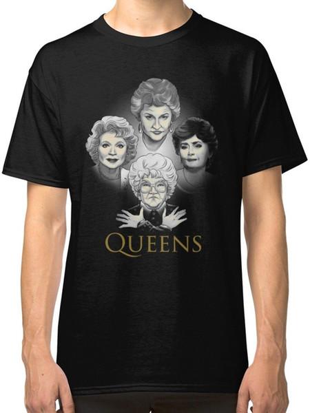 Altın Queens erkek Siyah Tees Gömlek Giyim Komik% 100% Pamuklu T Gömlek takım şapka pembe tişört