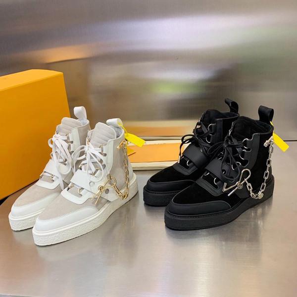 Altın Zincir Pin Bayan Deri Martin Çizme Monogram Patik Sneaker Boot Tasarımcı Ayakkabı ile 2019 Yeni Lüks Erkek Creeper Bilek Önyükleme