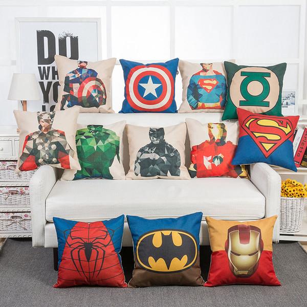 Wholesale 45*45cm Superheroes Iron Man Superman Captain America Batman Pillow Cases Cushion Cover case Throw Pillowcase Linen Cotton Pillow