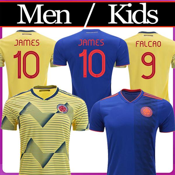 2019 Colombia soccer Jersey Colombia Home yellow Soccer shirt 2018 #10 JAMES #9 FALCAO #11 CUADRADO Thai away blue Football uniform