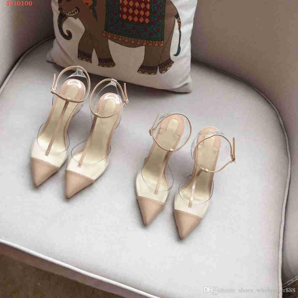 New fashion women shoes runway style High-end cowhide sandals Women fashionable Transparent elements sandals