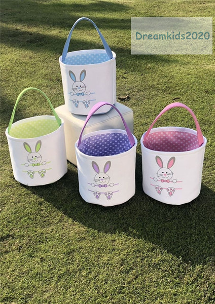 top popular Easter bunny bags for kids,Easter Rabbit Basket Easter Bunny Bags Rabbit Printed Canvas Tote Bag Egg Candies Baskets 2021