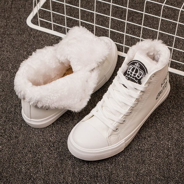 Snow boots Ankle Boots For Women Bottes Femme Winter Sneakers Fur Ladies Shoes White Sneakers Keep Warm Flat Shoes bota feminina