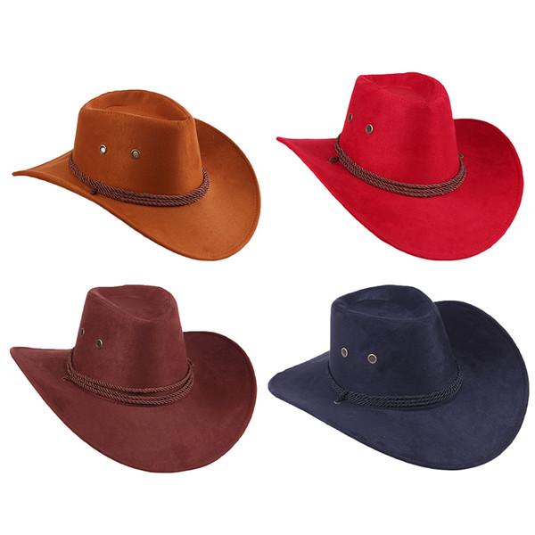 New Western cow-boy Chapeau Hero style rétro noir brun rouge Faux cuir Hommes Femmes équitation Cap large Brim 58cm