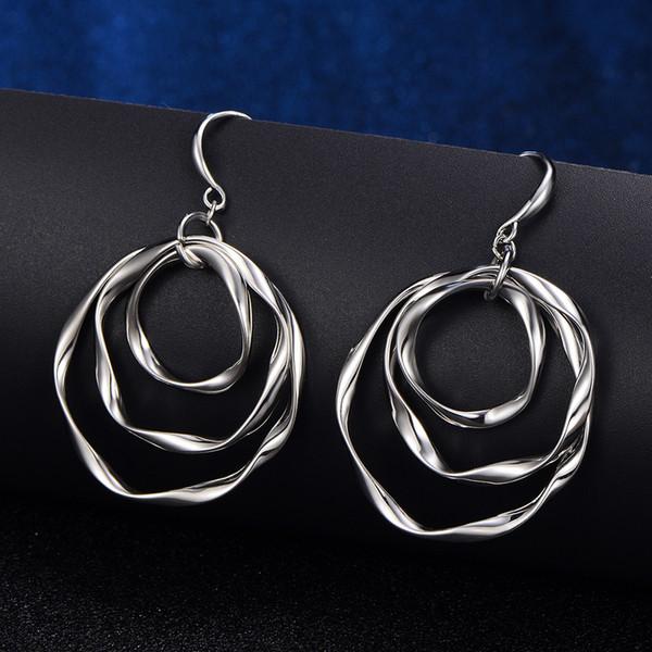 Koper Metalen Mix Kleuren Ronde Cirkels Oorbellen Voor Vrouwen Elegante Mode Oorbellen Sieraden Pendientes Goud Zilver Kleuren Nieuwe