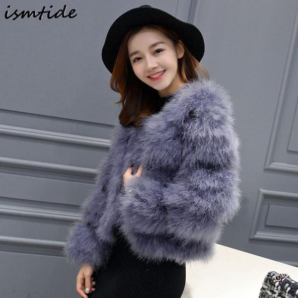 Real Grey Turkey Fur Coat Women Fashion Ostrich Fur Jacket Good Quality Real Furry Female Full Sleeve Pink Jacket