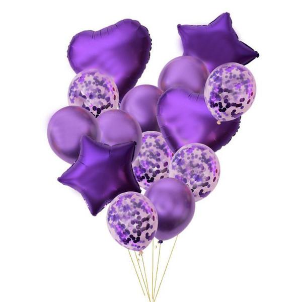14pcs/set Wedding Birthday Balloons Latex Foil Ballons Kids Boy Girl Baby Party Heart Star Shape Decorative Balloon