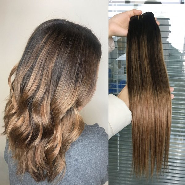 Ombre Human Hair Extensions Virgin Brazilian Peruvian Malaysian Indian Stiangth Balayage Brown Blonde T2 6 Ombre Hair Weave Bundles Hair Extension