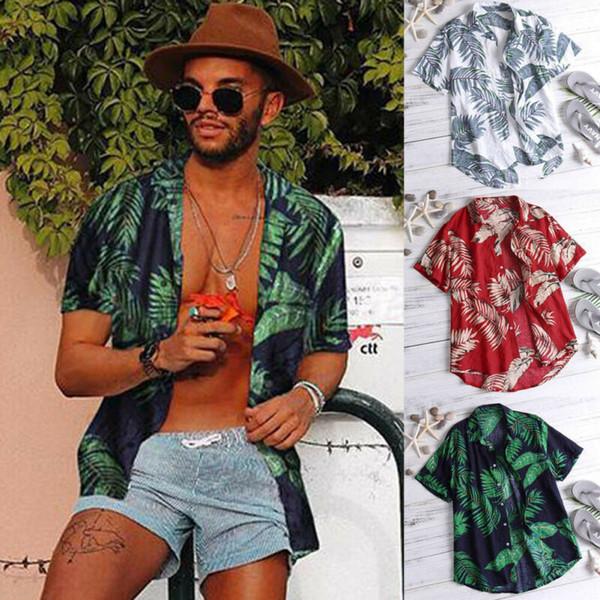 Hawaï T-shirt des hommes d'été Vintage Summer Beach Casual Floral manches courtes Chemises Hauts Tee