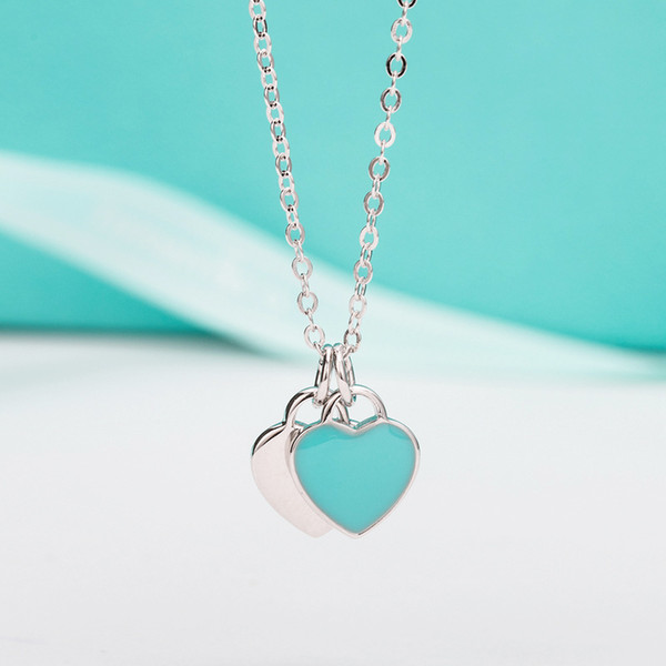 Mujer joyería de lujo Real 925 Collar de Plata con Corazón de Amor Colgante con Caja Original Regalo de Boda Cadena Collares