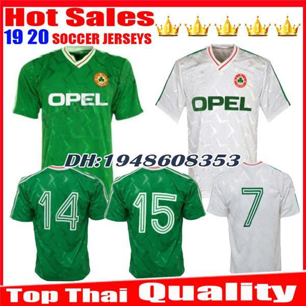 1990 1992 Top thai quality Ireland retro soccer jersey 1990 world cup Ireland home classic jersey vintage Irish Sheedy size football shirts