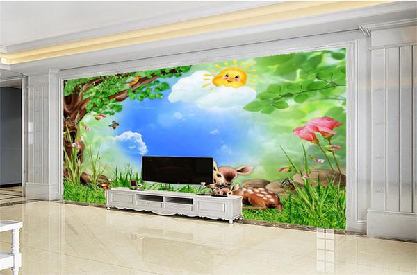Acheter Fond D écran 3d Dessin Animé Forêt De Cerf Animal Wallpaper Hd Paysage Papier Peint Supérieur Décorations Intérieures Papier Peint De 22 52