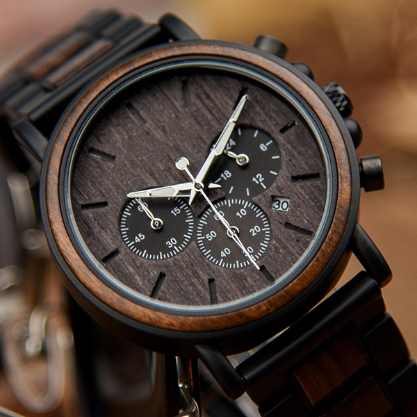 Shenzhen Watch Factory Chronograph Custom Logo Stainless Steel Men Black Automatic Calendar Private Label Wood Watch For Male