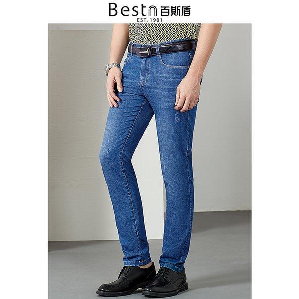 Bestn 2019 primavera verão casual slim vintage lavado Denim Pencil suave macio sólido luz azul longo jeans masculino
