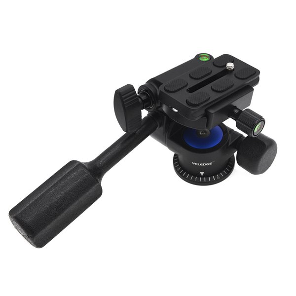 VELEDGE Professional Camera Tripod Tilt Head Two-dimensional Pan Heads For Monopod with Quick Release Plate