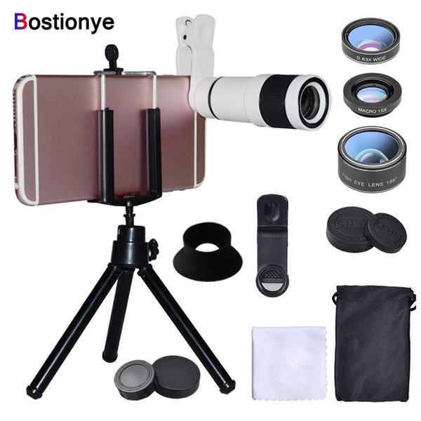 Bostionye 14X Telephoto Lens 6in1 Fisheye wide angle Macro Camera Lens Mobile Zoom telescope Phones General clamp With tripod