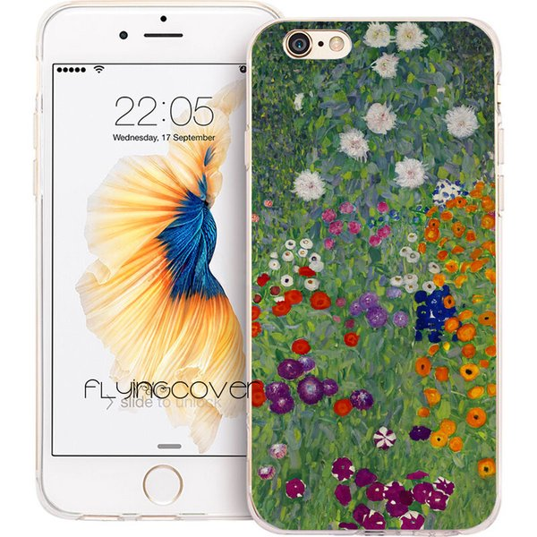 Fundas Gustav Klimt Flowers Art Phone Cases for iPhone XS Max XR 7 8 Plus 5S 5 SE 6 6S Plus 5C 4S 4 iPod Touch 6 TPU Silicone Cover.