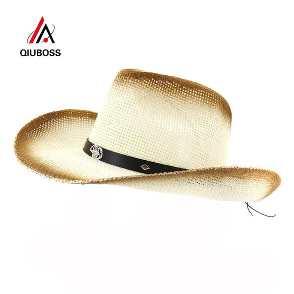 QIUBOSS Women Brown Spray Paint Cowboy Straw Hat Belt Metal Scorpion Decor Ladies Wide Brim Sun Visor Cap Casual Beach Sunhat