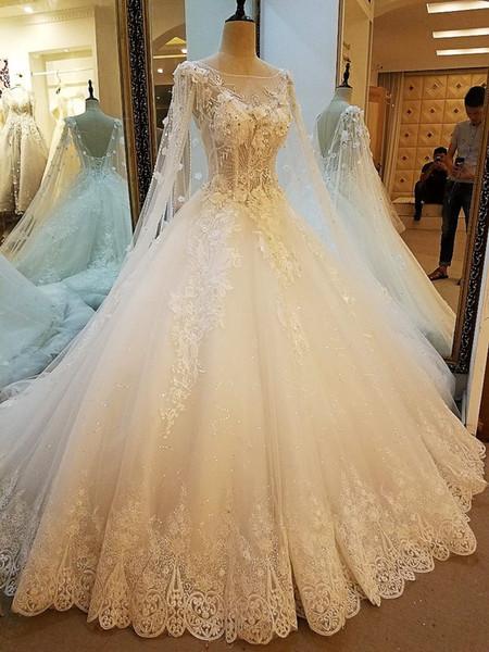 Abiti da sposa principessa pizzo avorio con lunghe perle di tulle perle di lusso diamante più recenti abiti da sposa 2019