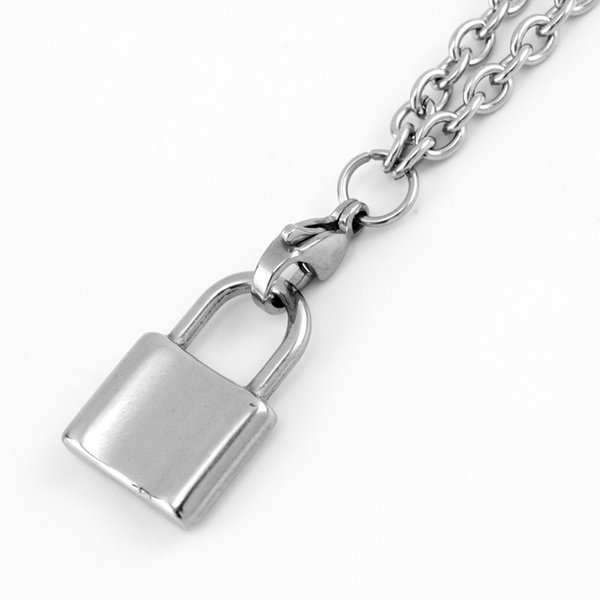 Stainless Steel PadLock Chain Necklace Coin/Saint/Open Heart/Lock Pendant Choker Long Necklaces Fashion Women Jewelry 2019 New