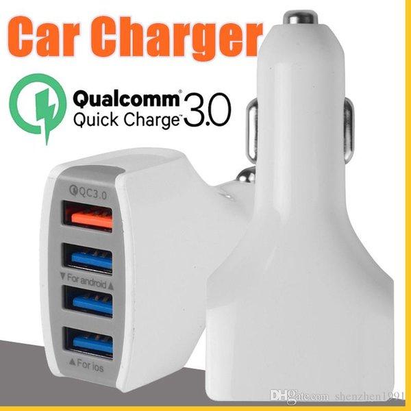 2018 novo carro carregador rápido Fast Charge 12V 9V 5V 4 porta carregadores celular Car QC3.0 USB telefone para Samsung LG Huawei alta qualidade