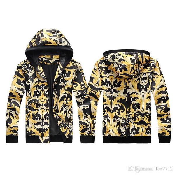 2018 männer Freizeitjacke 3D Paisley Print Mit Kapuze Zip Jacke Hoodie Mode Outdoor Sport Shell Jacken Frühling Herbst Trenchcoat