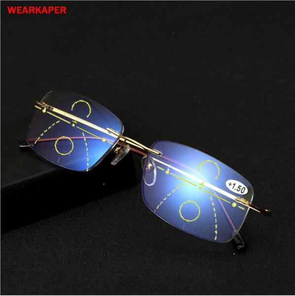 Wearkaper New Titanium Alloy Anti-blu-ray Smart Progressive Reading Glasses Presbyopic Eyewear Multifocal Eyeglasses Diopter 1-3 C19042001