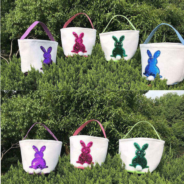 Mermaid Sequins Easter Basket Canvas Rabbit Bags Bunny Storage Bag DIY Cute Easter Gift Handbag Rabbit Ears Put Easter Eggs Baskets