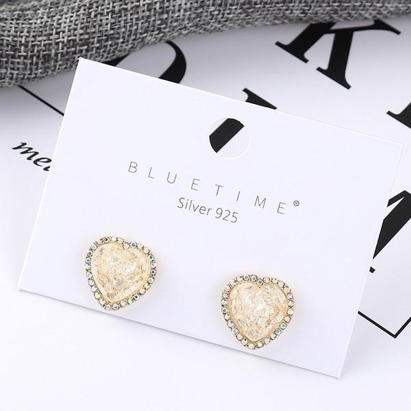 bijoux fantaisie Meilleures ventes Boucles d'oreilles vent Panya S925 Aiguille d'argent Simplicité Xiao Taoxin 14k or Dazzle Clous d'oreilles en cristal acrylique B-3903