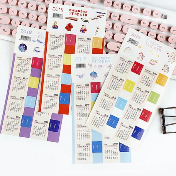 best selling 2Pcs Set October 2019-2020 Calendar Cute Calendar Index Sticker Diary DIY Work Schedule Decorate Sticker Planner Journal Stickers Kawaii