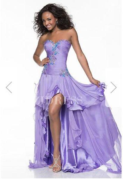 A-Line/Princess Sweetheart High Low Hem Chiffon Prom Dress E7