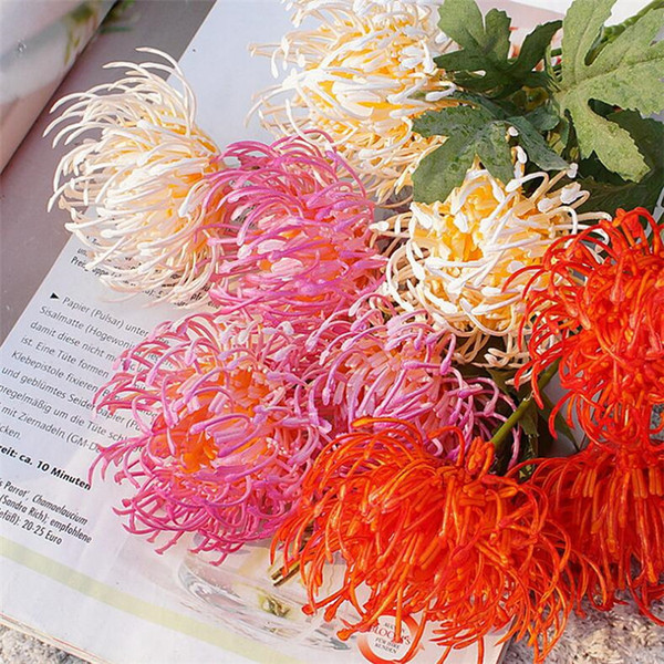 "Fake Chrysanthemum (3 heads/piece) 19.69"" Length Simulation Plastic Pincushion Flower for Wedding Home Decorative Artificial Flowers"